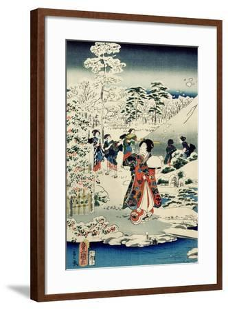 Maids in a Snow-Covered Garden, 1859-Utagawa Hiroshige and Kunisada-Framed Giclee Print