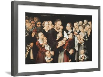 Jesus and the Children, Early C16th-Lucas Cranach the Elder-Framed Giclee Print