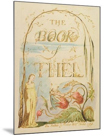 The Book of Thel, Plate 2 (Title Page), 1789-William Blake-Mounted Giclee Print