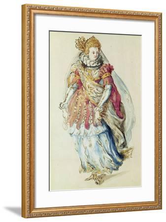 Costume Design for a Lady Masquer, 1610-Inigo Jones-Framed Giclee Print