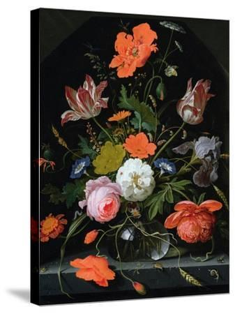 Still Life of Flowers in a Glass Vase-Abraham Mignon-Stretched Canvas Print