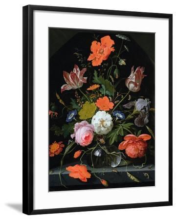 Still Life of Flowers in a Glass Vase-Abraham Mignon-Framed Giclee Print