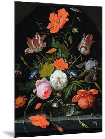 Still Life of Flowers in a Glass Vase-Abraham Mignon-Mounted Giclee Print
