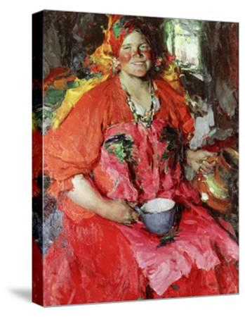 The Girl with a Jug-Abram Efimovich Arkhipov-Stretched Canvas Print