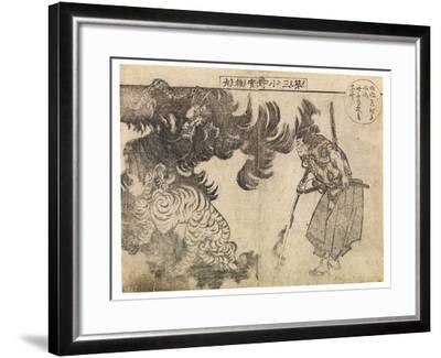 Spectator Watching a Tiger Being Attacked by a Dragon, Probably 1910s-Katsushika Hokusai-Framed Giclee Print