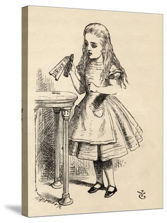 Alice Peering at the Drink Me Bottle, from 'Alice's Adventures in Wonderland' by Lewis Carroll,…-John Tenniel-Stretched Canvas Print