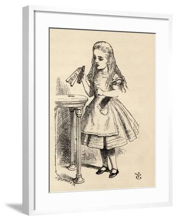 Alice Peering at the Drink Me Bottle, from 'Alice's Adventures in Wonderland' by Lewis Carroll,…-John Tenniel-Framed Giclee Print