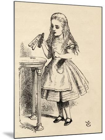 Alice Peering at the Drink Me Bottle, from 'Alice's Adventures in Wonderland' by Lewis Carroll,…-John Tenniel-Mounted Giclee Print