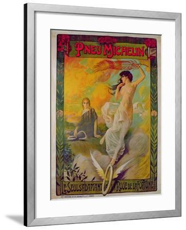 Poster Advertising for Michelin 'Pneu Michelin, Le Seul S'Adaptant a La Roue De La Fortune'--Framed Giclee Print