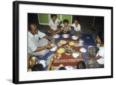 Malay Family Eating an Iftar Meal Following the End of the Day'S Fast During the Month of Ramadan--Framed Premium Photographic Print