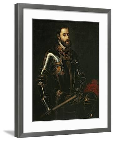 Portrait of Emperor Charles V, after a Painting by Titian, C.1603-Titian (Tiziano Vecelli)-Framed Giclee Print