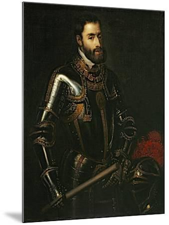 Portrait of Emperor Charles V, after a Painting by Titian, C.1603-Titian (Tiziano Vecelli)-Mounted Giclee Print