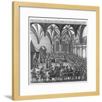 Reading of the Augsburg Confession on 25 June 1530 in the Augsburger Reichstag, C.1530-German School-Framed Giclee Print