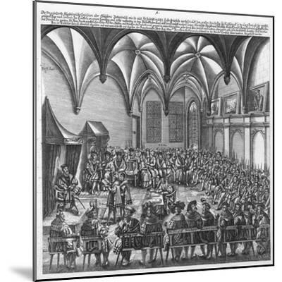 Reading of the Augsburg Confession on 25 June 1530 in the Augsburger Reichstag, C.1530-German School-Mounted Giclee Print