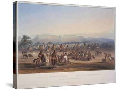 Encampment of the Piekann Indians, Engraved by Beyer and Hurliman, Published in 1839-Karl Bodmer-Stretched Canvas Print