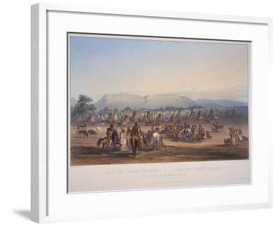 Encampment of the Piekann Indians, Engraved by Beyer and Hurliman, Published in 1839-Karl Bodmer-Framed Giclee Print