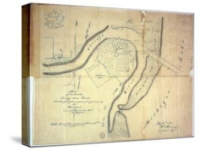 Map of the Mouth of the Chicago River, Illinois with the Plan of the Proposed Piers for Improving…-E. Harrison-Stretched Canvas Print