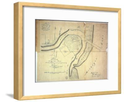 Map of the Mouth of the Chicago River, Illinois with the Plan of the Proposed Piers for Improving…-E. Harrison-Framed Giclee Print