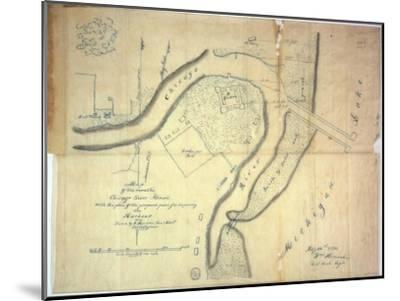 Map of the Mouth of the Chicago River, Illinois with the Plan of the Proposed Piers for Improving…-E. Harrison-Mounted Giclee Print