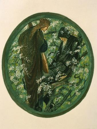 Nimue Beguiling Merlin with Enchantment, Plate Xv from 'The Flower Book'-Edward Burne-Jones-Framed Giclee Print