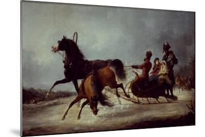 The Empress Elizabeth in a Sledge-Alexander Ivanovich Sauerweid-Mounted Giclee Print