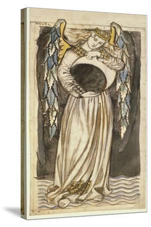 An Angel Holding a Waning Moon-William Morris-Stretched Canvas Print