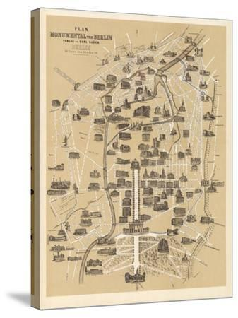 Map of Berlin, Published by Carl Glueck Verlag, Berlin, 1860-German School-Stretched Canvas Print