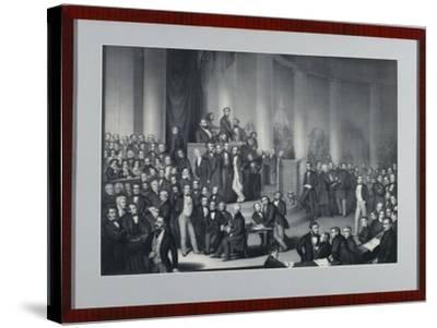 The National Assembly in Paulskirche, Frankfurt Am Main, Engraved by Eduard Meyer and Gerhard…-Paul Buerde-Stretched Canvas Print