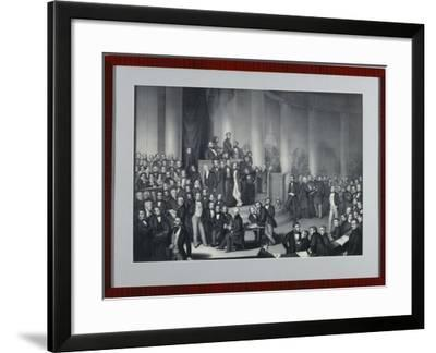The National Assembly in Paulskirche, Frankfurt Am Main, Engraved by Eduard Meyer and Gerhard…-Paul Buerde-Framed Giclee Print