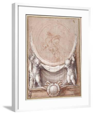 Two Putti Supporting a Medallion on Which the Cloud-Borne Christ Is Represented-Correggio-Framed Giclee Print