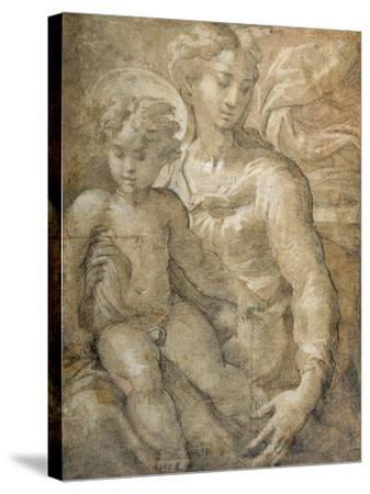 Virgin with the Child on Her Lap-Parmigianino-Stretched Canvas Print