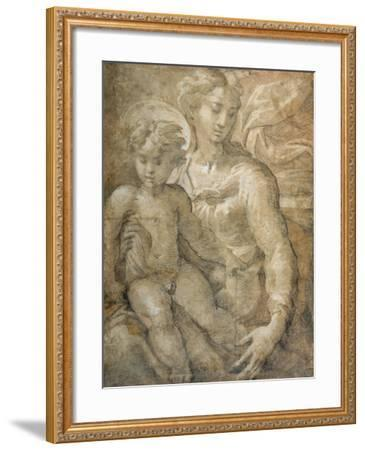 Virgin with the Child on Her Lap-Parmigianino-Framed Giclee Print