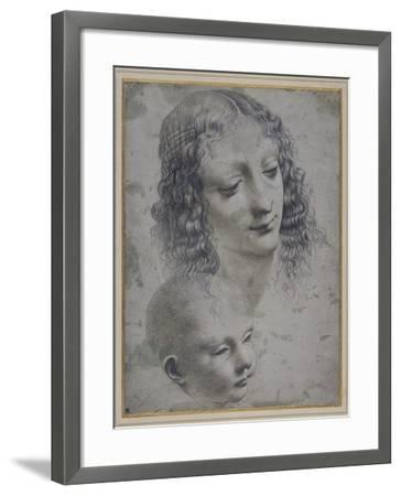 The Head of a Woman and the Head of a Baby-Leonardo da Vinci-Framed Giclee Print