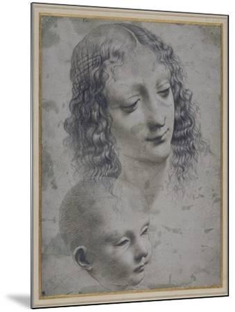 The Head of a Woman and the Head of a Baby-Leonardo da Vinci-Mounted Giclee Print