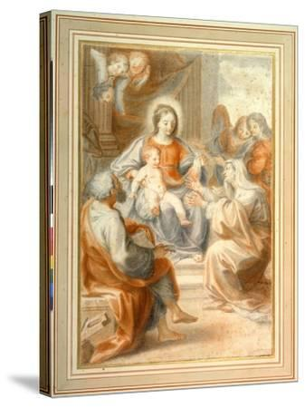 The Holy Family with St. Anne, Attended by Angels and Cherubim- Pietro da Pietri-Stretched Canvas Print