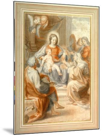 The Holy Family with St. Anne, Attended by Angels and Cherubim- Pietro da Pietri-Mounted Giclee Print