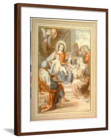 The Holy Family with St. Anne, Attended by Angels and Cherubim- Pietro da Pietri-Framed Giclee Print