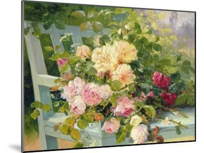 Roses on the Bench-Eugene Henri Cauchois-Mounted Giclee Print