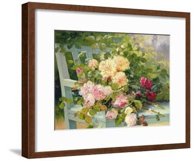 Roses on the Bench-Eugene Henri Cauchois-Framed Giclee Print