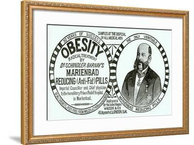Advertisement for 'Dr. Schindler Barnay's Marienbad Reducing (Anti-Fat) Pills, 1890s-English School-Framed Giclee Print