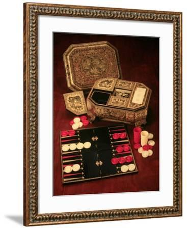 Antique Backgammon Set and Boards--Framed Giclee Print