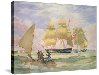 Hm Ships 'Ganges' and 'sapphire' Off Pernambuco, 1829-Emeric Essex Vidal-Stretched Canvas Print