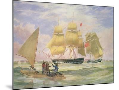 Hm Ships 'Ganges' and 'sapphire' Off Pernambuco, 1829-Emeric Essex Vidal-Mounted Giclee Print
