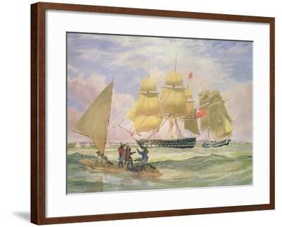 Hm Ships 'Ganges' and 'sapphire' Off Pernambuco, 1829-Emeric Essex Vidal-Framed Giclee Print