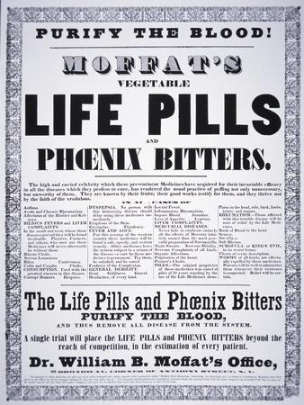 Advertisement for 'Moffat's Vegetable Life Pills and Phoenix Bitters', C.1860--Framed Giclee Print