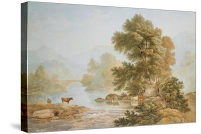 Cattle Watering at a River-John Glover-Stretched Canvas Print