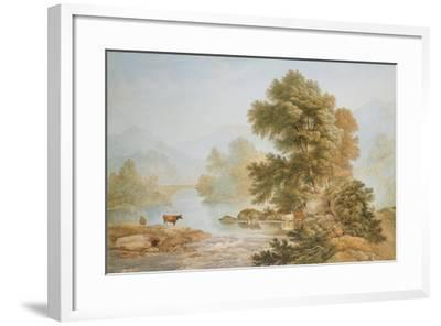 Cattle Watering at a River-John Glover-Framed Giclee Print