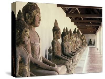 Stone Buddha Images from the Ayutthaya Period in the Cloister--Stretched Canvas Print