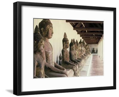 Stone Buddha Images from the Ayutthaya Period in the Cloister--Framed Photographic Print