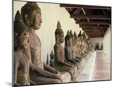 Stone Buddha Images from the Ayutthaya Period in the Cloister--Mounted Photographic Print